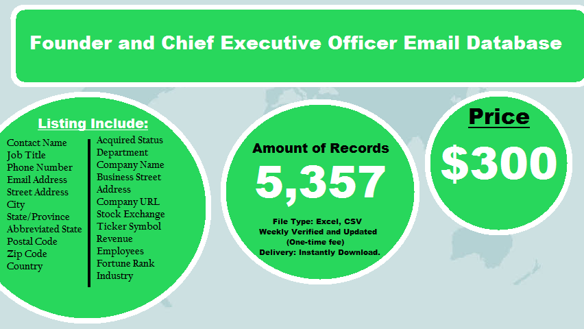 Founder and Chief Executive Officer Email Database