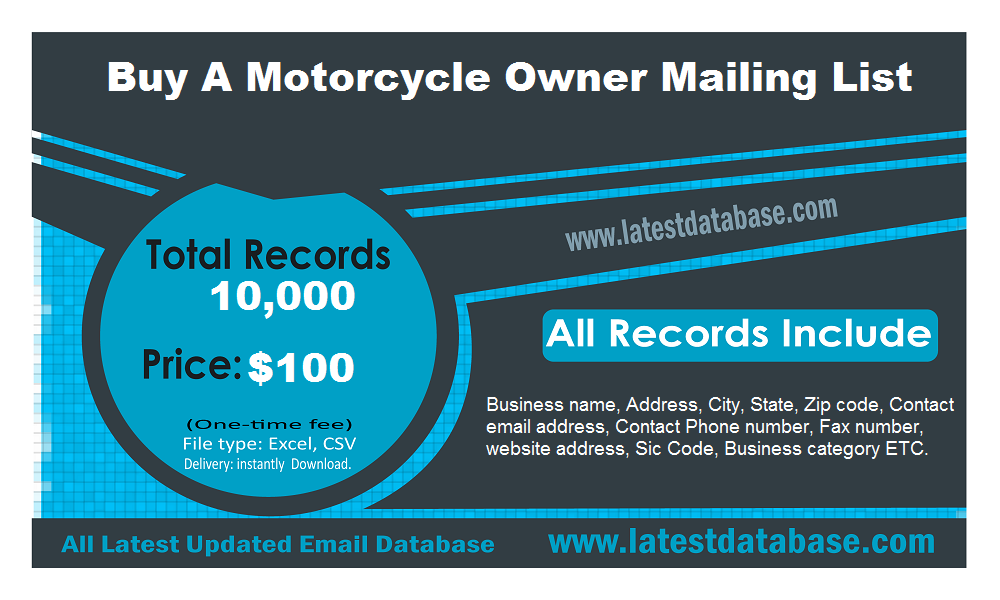 Buy A Motorcycle Owner Mailing List