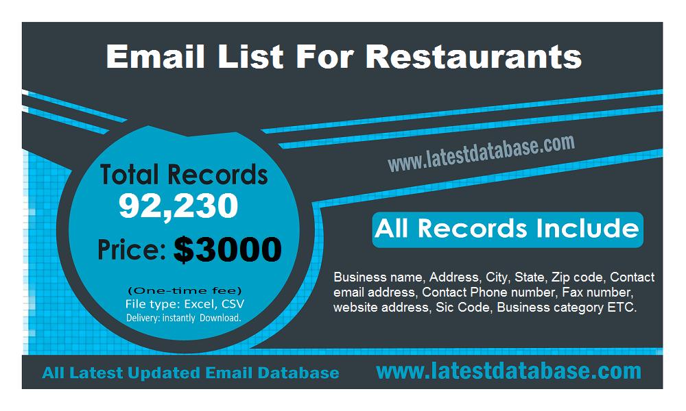 Email List For Restaurants