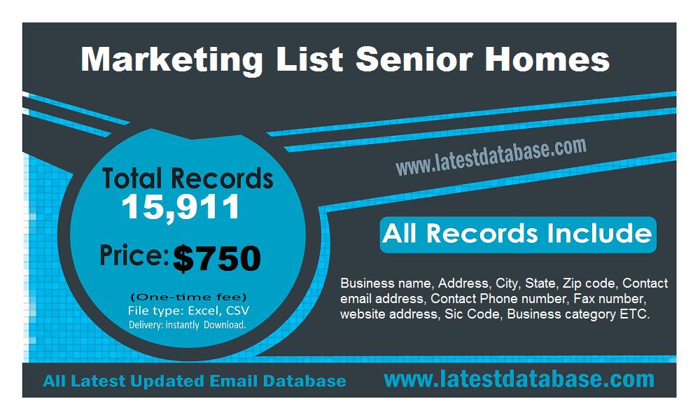 Marketing List Senior Homes